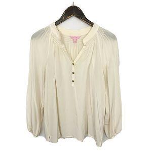 Lilly Pulitzer Cream Elsa Sheer Blouse 100% Silk